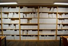 A room full of shelves full of books full of blank pages