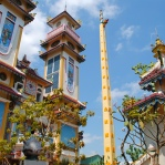 Cao Dai Temple, with the happy yellow swastikas. I know they don't mean what they mean in the West, but it still weirded me out.