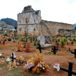Chamula cemetery, with the colour-coded crosses: white for children, black for old people, and colour for teenagers