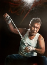 Archibald Packing Room Prize winner, the portrait of Jimmy Barnes